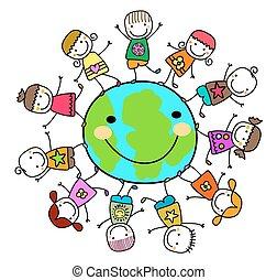 děti, dokola, oběnice uzemněný, hraní, šťastný