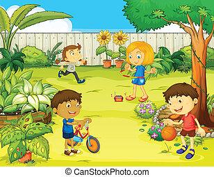 Děti hrající v krásné přírodě