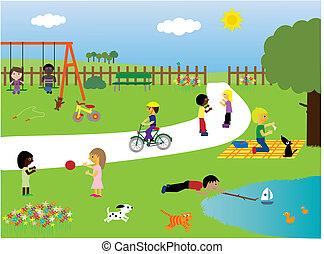 Děti hrající v parku