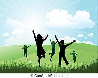 Děti si hrají venku na sluníčko