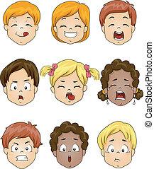 děti, vyjádření, obličejový