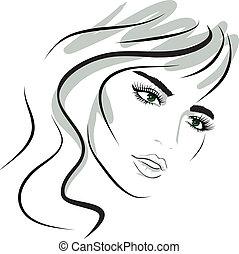 děvče, design, face., kráska, elements.