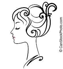 děvče, ilustrace, čelit, vektor, překrásný