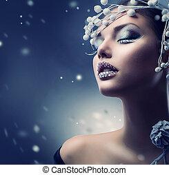 děvče, kráska, makeup, zima, woman., vánoce