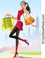 děvče, móda, nakupování