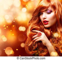 děvče, vlas podoba, portrait., zvlněný, zlatý, červeň