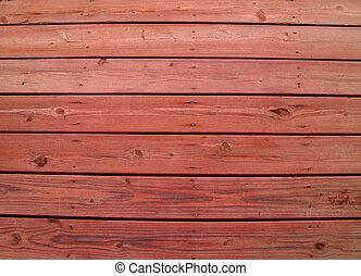 Dřevěná dřevěná paluba s červenou