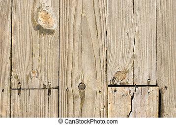 Dřevěná dřevěná podlaha se starými nehty
