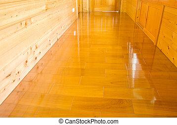 Dřevěná zeď a podlahu