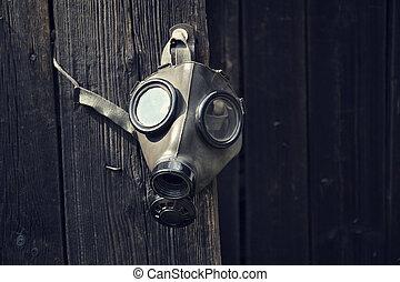dřevěný, closeup, plynová maska, grafické pozadí