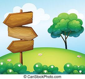 dřevěný, kopec, šipka, signage