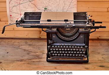 dřevěný, společnost, válka, vzhled, dávný, psací stroj, deska, nejdříve, antický, grunge