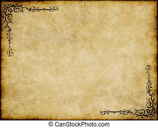 důležitý, dávný, tkanivo, noviny, design, grafické pozadí, ozdobený, pergamen