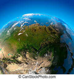 daleký, sibiř, východ, asie, satelitní město, názor