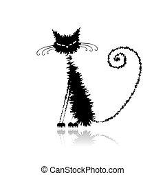 deštivý, kočka, čerň, tvůj, design, komický