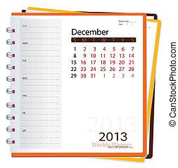 december., illustration., vektor, diář, kalendář, 2013
