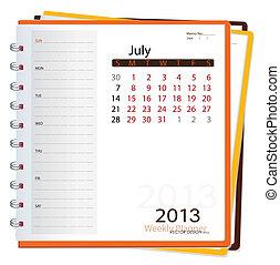 Deník do kalendáře na rok 2013, july. Vektorová ilustrace.
