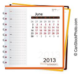 Deník do kalendáře na rok 2013, june. Vektorová ilustrace.
