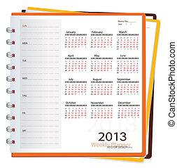 Deník na rok 2013, vektorová ilustrace.
