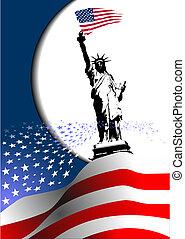 Den nezávislosti Spojených států Amerických. Americká vlajka s obrázkem. Vektor
