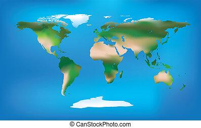 detailní, barva, plný, mapa světa