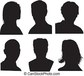 detailní, hlavička, silhouettes