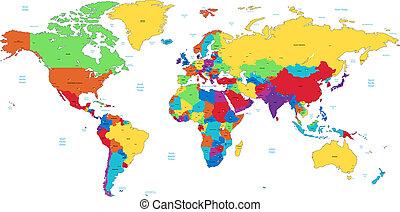 detailní, společnost, mnohobarevný, mapa