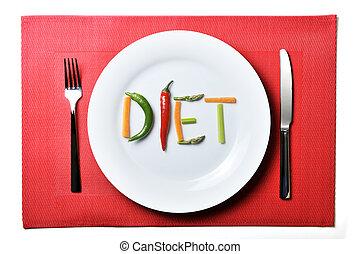 Dietní se zeleninou se zdravým jídlem