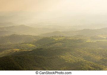 difúzní, údolí, sluneční světlo, kopcovitý