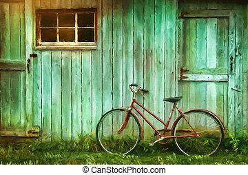 Digitální obraz starého kola proti stodole