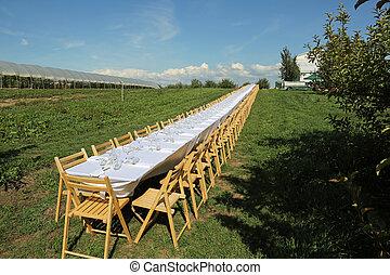 Dlouhé stoly venku