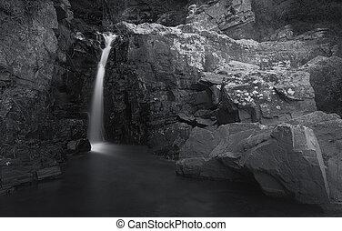dlouho, vodopád, malý, řeka krajinomalba, odhalení