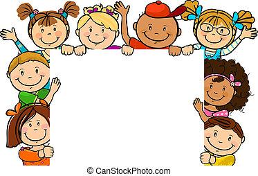 dohromady, čtverec, děti, tabule