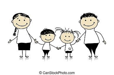 dohromady, kreslení, zdařilý rodinný, usmívaní, skica