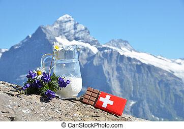 dojit, na, džbán, hora, čokoláda, peak., švýcarsko, švýcarský