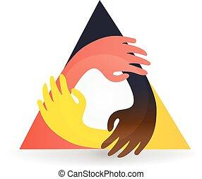 dokola, barvitý, vektor, kolektivní práce, ruce, emblém