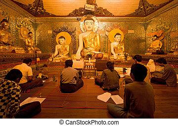 dokola, myanmar, prosit, yagon, pagoda, buddhismus, shwedagon