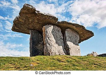 dolmen, starobylý, hrob, irsko, západ