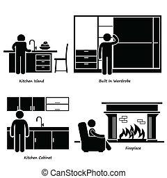 domů, nábytek, built-in, ikona