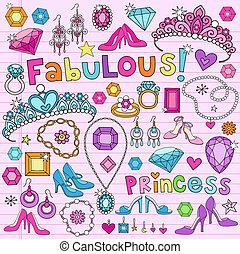 doodles, vektor, dát, kněžna