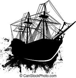 dopravovat, grunge, vektor, pirát