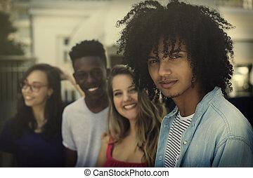 dospělí, generace, skupina, mezinárodní, y, mládě