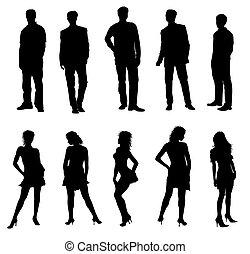 dospělí, silhouettes, čerň, neposkvrněný, mládě