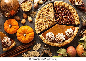 drobit, dýně, jablko, pecan, tradiční, podzim, bábovička