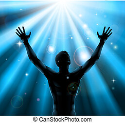 Duchovní muž se zvednutým pojem