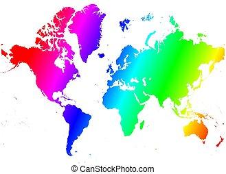 duha, mapa světa