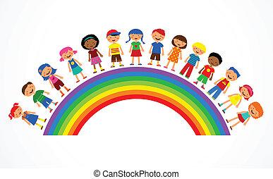 Duha s dětmi, barevná vektorová ilustrace