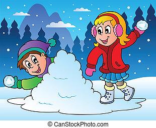 Dvě děti házejí sněhové koule