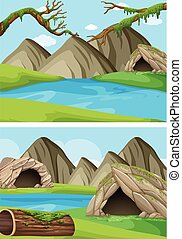 Dvě místa s horami a řekami