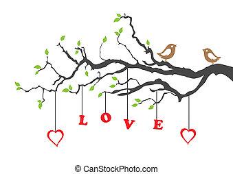 Dva zamilovaní ptáčci a milostný strom